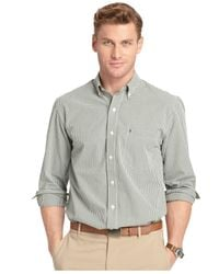 Izod | Green Long Sleeve Gingham Button-down Shirt for Men | Lyst