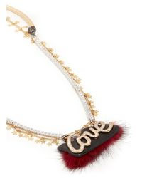 Venna - Red 'love' Crystal Slogan Star Chain Open Necklace - Lyst