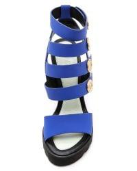 KENZO - Blue Victoire Wedge Sandals - Bleu Marine - Lyst