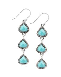 Lucky Brand - Metallic Silvertone Reconstituted Turquoise Linear Pave Drop Earrings - Lyst