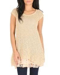 Izabel London Natural Knit Tunic Top With Frilled Under Layer