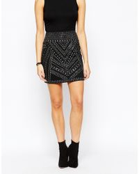 Oasis | Black Asis Stud Mini Skirt | Lyst