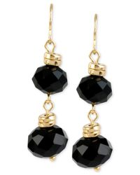 Kenneth Cole | Black Gold-tone Faceted Bead Double Drop Earrings | Lyst