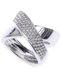 Judith Jack - Metallic Sterling Silver Crystal Crisscross Ring - Lyst