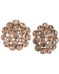 Anne Klein | Pink Rose Gold-tone Brown Crystal Cluster Clip-on Earrings | Lyst