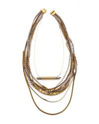 Serefina Multicolor Beaded Layer Pyrite Set Necklace Wheat