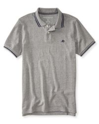 Aéropostale | Gray A87 Tipped Logo Piqué Polo for Men | Lyst
