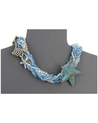 Betsey Johnson | Into The Blue Beaded Collar Necklace | Lyst