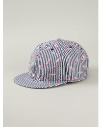 Julien David | Blue Striped And Embroidered Cap for Men | Lyst