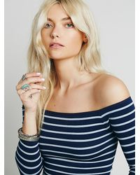 Free People - Blue Off The Shoulder Striped Seamless Top - Lyst