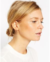 ASOS | Metallic Rose Gold Plated Sterling Silver Lightning Bolt Through Earrings | Lyst
