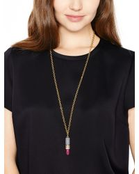 kate spade new york - Pink Kiss And Make Up Lipstick Pendant - Lyst