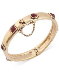 Lucky Brand - Metallic Gold-Tone Red Stone Hinge Bangle Bracelet - Lyst