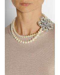 Miu Miu - Blue Silverplated Swarovski Pearl and Crystal Necklace - Lyst