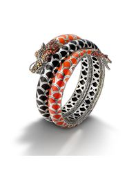 John Hardy - Red Double Coil Bracelet With Autumn Color Way Enamel - Lyst