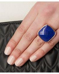 Monica Vinader - Blue Rose Gold-plated Lapis Square Facet Ring - Lyst