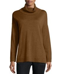 Eileen Fisher - Metallic Merino Jersey Turtleneck Box Top - Lyst