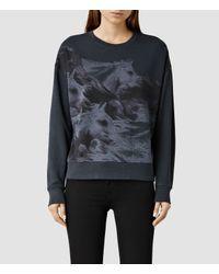 AllSaints | Black Equidae Ita Sweatshirt | Lyst