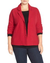 Eileen Fisher | Red Notch Collar Merino Wool Jacket | Lyst