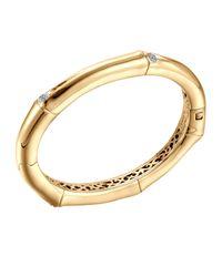 John Hardy - Metallic Bamboo 18k Gold & Diamond Hinge Bangle - Lyst