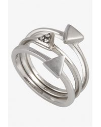 French Connection - Metallic Mini Triangle Rings - Lyst