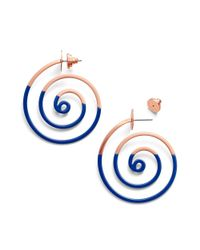 Tory Burch | Blue Spiral Dipped Earring | Lyst