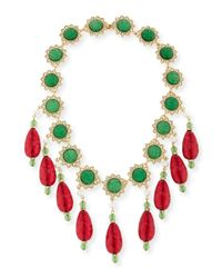 Kenneth Jay Lane | Green Two-tone Crystal Bib Necklace | Lyst