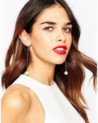 ASOS | Metallic Faux Pearl Drop Earrings | Lyst