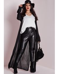 Missguided - Plus Size Button Down Maxi Cardigan Black - Lyst