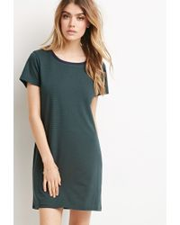Forever 21 - Green Micro-striped T-shirt Dress You've Been Added To The Waitlist - Lyst