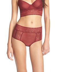 Free People | Red 'get Off My Cloud' High Rise Briefs | Lyst