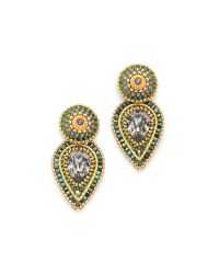 Miguel Ases | Metallic Swarovski Stud Earrings - Gold/multi | Lyst