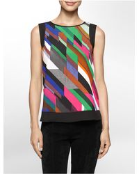 Calvin Klein | Multicolor White Label Lightweight Abstract Print Solid Trim Sleeveless Top | Lyst