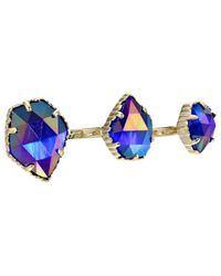 Kendra Scott - Blue Naomi Two Finger Ring Adjustable - Lyst