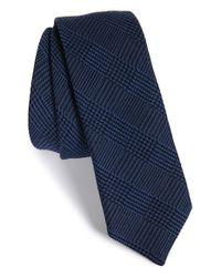 HUGO | Blue Plaid Wool & Silk Tie for Men | Lyst
