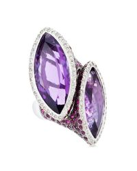 Tina Zafari - Purple Double Cocktail Ring - Lyst