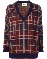 Bark - Blue Plaid V-neck Sweater - Lyst