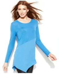 DKNY - Blue Mixedmedia Handkerchiefhem Tunic - Lyst