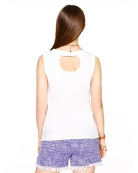 kate spade new york - White Sleeveless Fitted Tee - Lyst