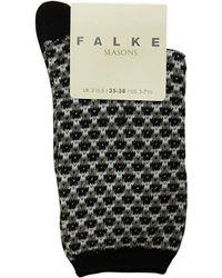 Falke | Black Jacquard Socks | Lyst