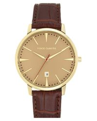 Vince Camuto - Metallic Round Leather Strap Watch for Men - Lyst