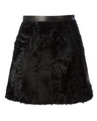 Ermanno Scervino - Black Lambskin Skirt - Lyst