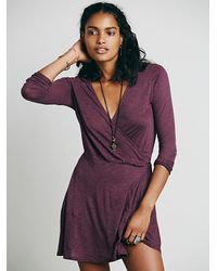 Free People | Purple Tiny Dancer Wrap Dress | Lyst