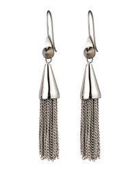 Eddie Borgo | Metallic Small Silvertone Chain Tassel Drop Earrings | Lyst