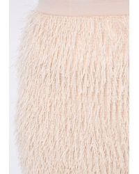 Missguided - Natural Fringe Mini Skirt Nude - Lyst