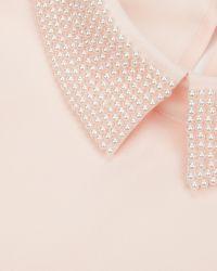 Ted Baker - Pink Embellished Collar Top - Lyst