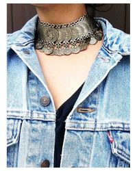 Natalie B. Jewelry - Blue Cyprus Coin Choker Necklace In Brass - Lyst