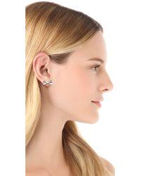 kate spade new york - Metallic Skinny Mini Bow Stud Earrings Silver - Lyst