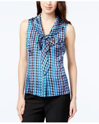 Tahari | Blue Sleeveless Printed Tie-front Blouse | Lyst
