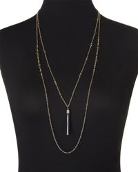 Cara | Black & Gold-Tone Tassel Necklace | Lyst